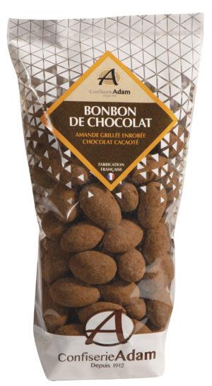 sachet de bonbons amandes au chocolat cacaoté confiserie adam