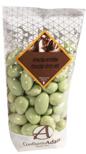 sachet de bonbons amandes au chocolat citron vert confiserie adam