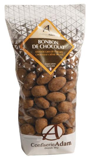 sachet de bonbons amandes au chocolat crème brulée confiserie adam