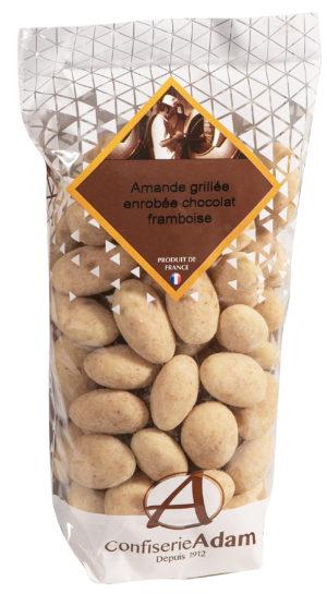 sachet de bonbons amandes au chocolat framboise confiserie adam