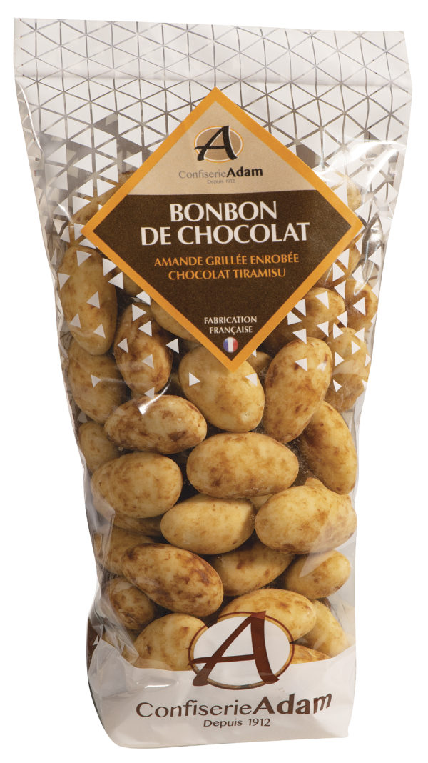 sachet de bonbons amandes au chocolat tiramisu confiserie adam