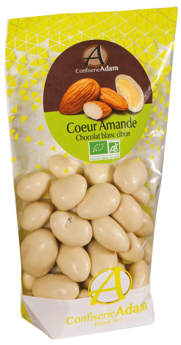 sachet dragées amande chocolat blanc citron bio confiserie adam