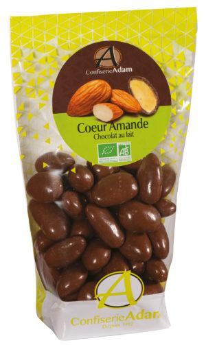 sachet dragées amande chocolat au lait bio confiserie adam
