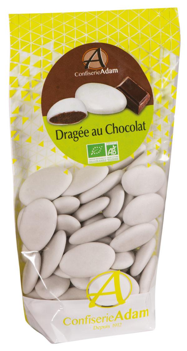 sachet de dragées au chocolat bio confiserie adam