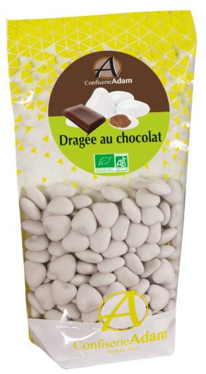 sachet dragées au chocolat bio forme coeur confiserie adam