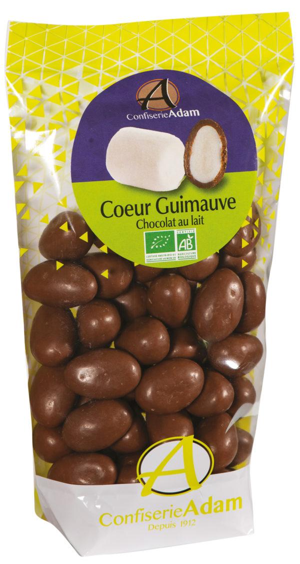 sachet bonbons coeur guimauve chocolat au lait bio confiserie adam