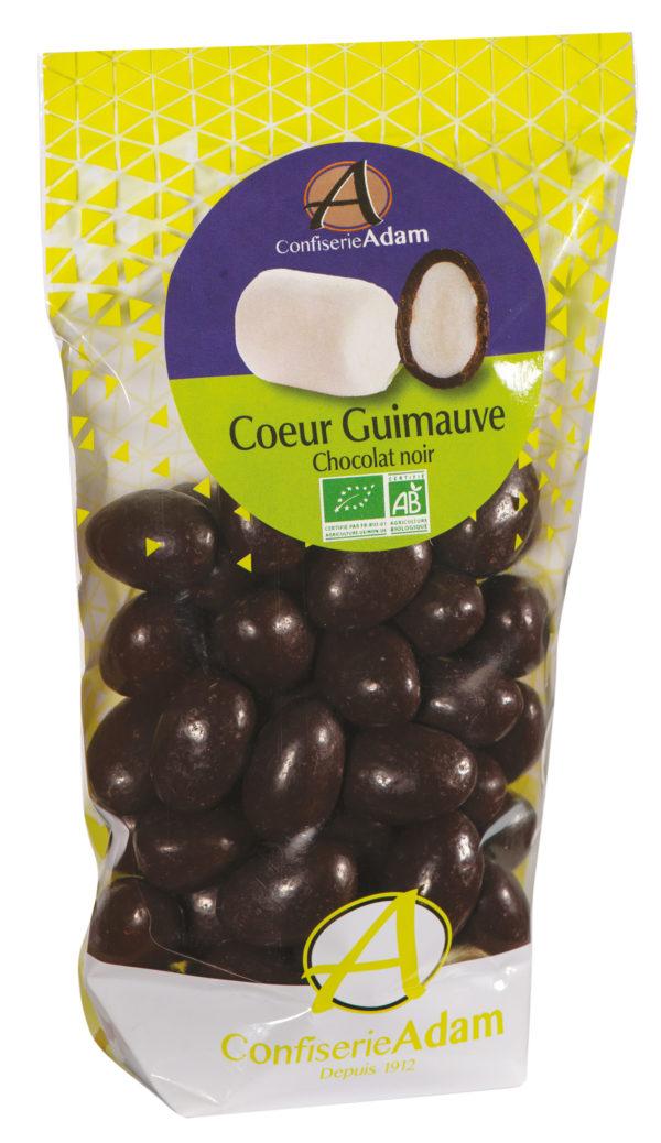 sachet bonbons coeur guimauve chocolat noir bio confiserie adam