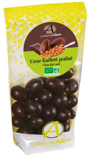 sachet bonbons coeur feuilleté praliné chocolat noir bio confiserie adam