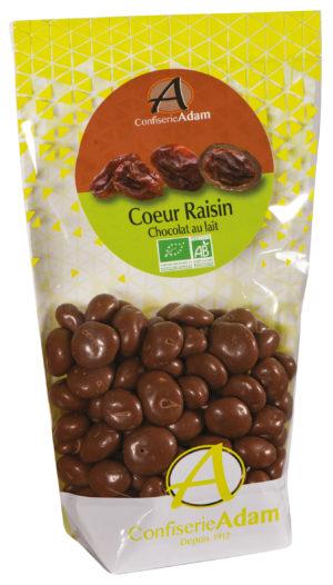 sachet bonbons coeur raison chocolat au lait bio confiserie adam