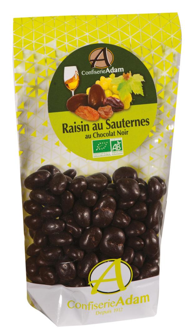 sachet bonbons raisins au Sauternes chocolat noir bio confiserie adam
