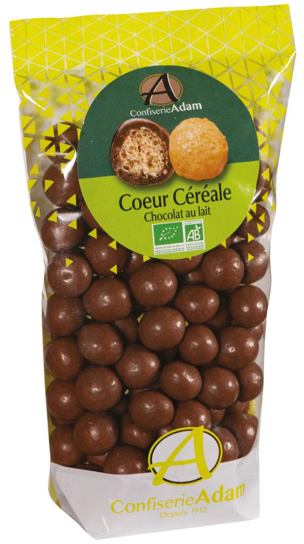 sachet bonbons céréale chocolat au lait bio confiserie adam