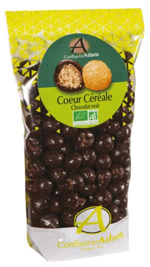 sachet bonbons céréale chocolat noir bio confiserie adam