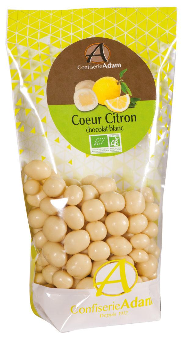 sachet bonbons citrons confits chocolat blanc bio confiserie adam