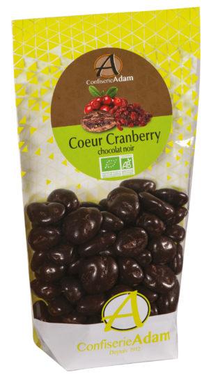 sachet bonbons cranberry confites chocolat noir bio confiserie adam