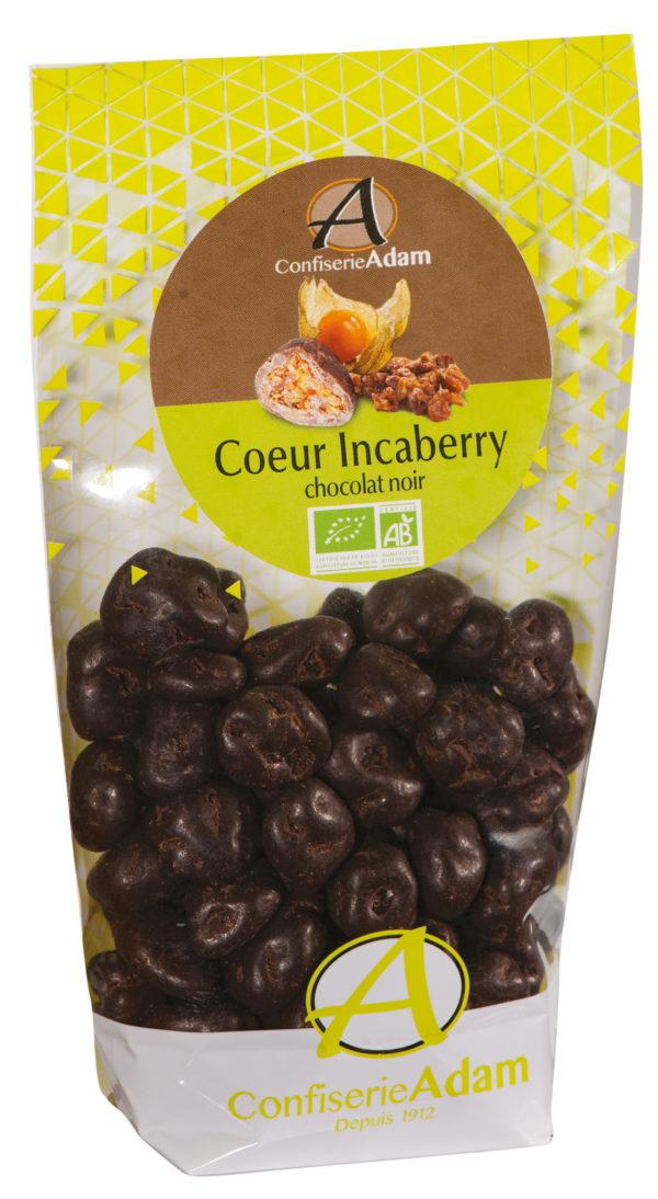 sachet bonbons incaberry confites chocolat noir bio confiserie adam