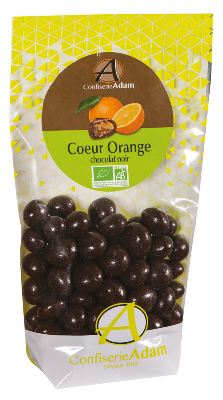 sachet bonbons oranges confites chocolat noir bio confiserie adam