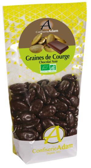 sachet graines de courge au chocolat noir bio confiserie adam