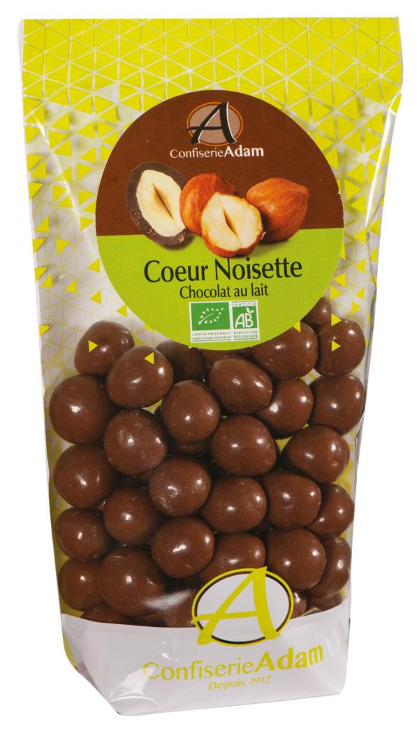 sachet bonbons coeur noisette chocolat au lait bio confiserie adam