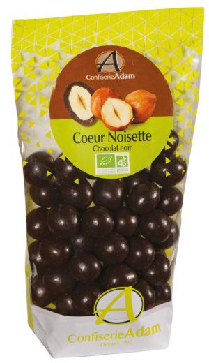 sachet bonbons coeur noisette chocolat noir bio confiserie adam