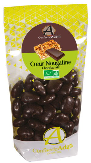 sachet bonbons coeur nougatine chocolat noir bio confiserie adam