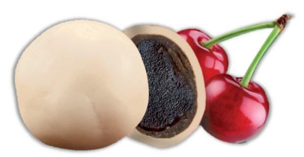 bonbon coeur de cerise purée de fruit et chocolat blanc bio