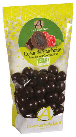 sachet bonbons pate de fruit framboise et chocolat noir bio confiserie adam
