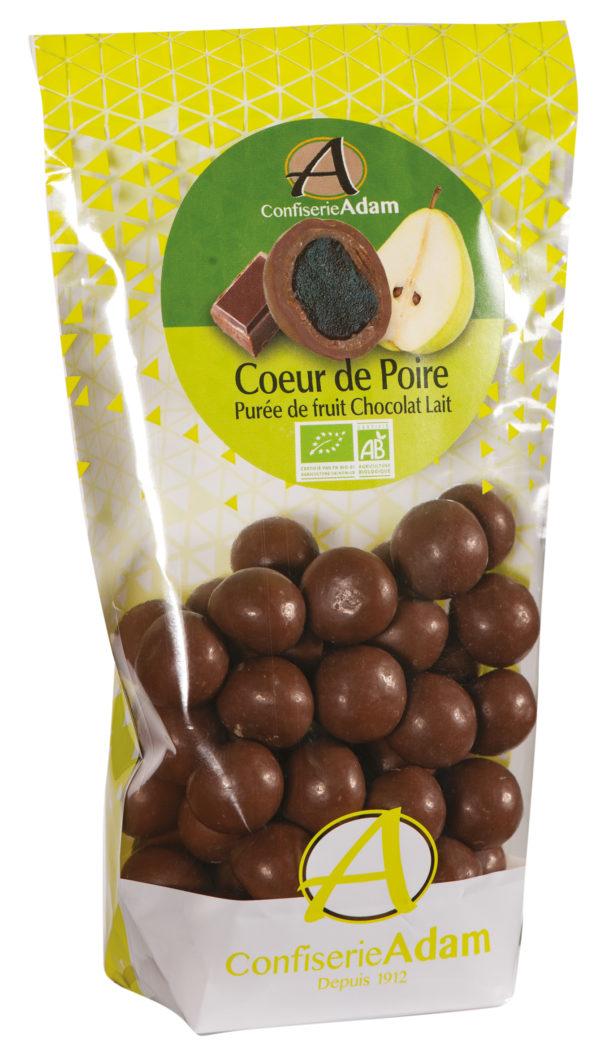sachet bonbons pate de fruit poire et chocolat au lait bio confiserie adam
