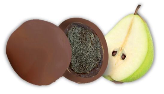 bonbon coeur de poire purée de fruit et chocolat lait bio