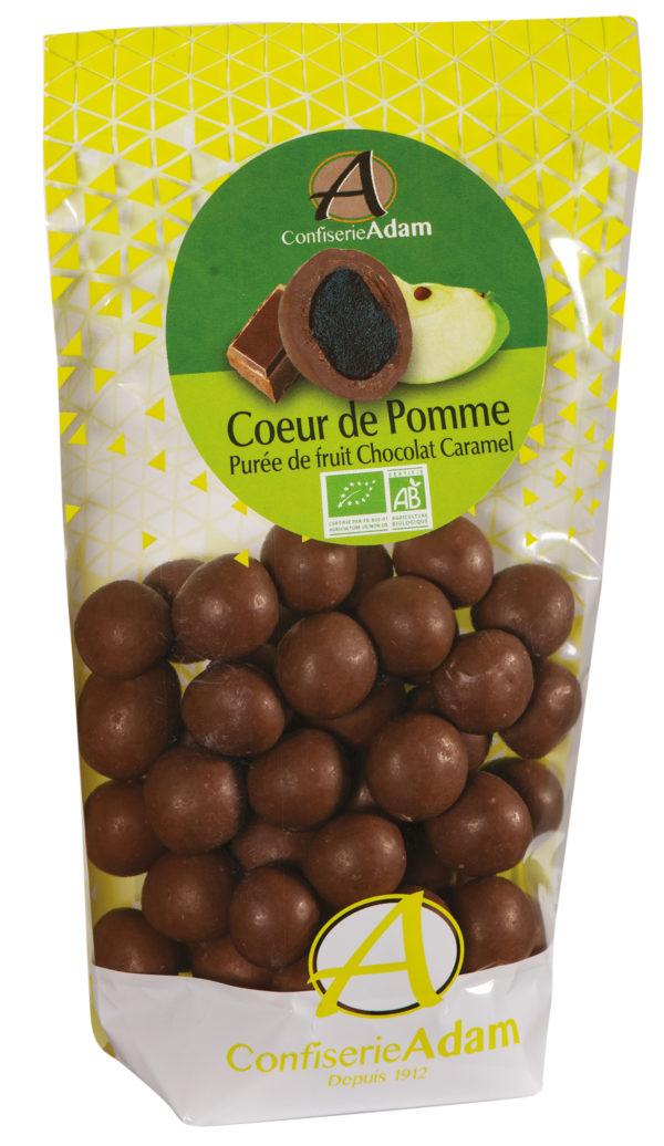 sachet bonbons pate de fruit pomme et chocolat caramel bio confiserie adam