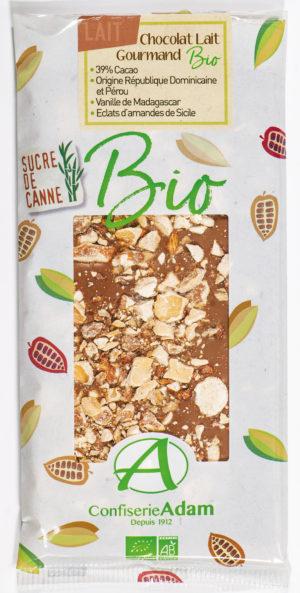 tablette chocolat lait amandes bio confiserie adam