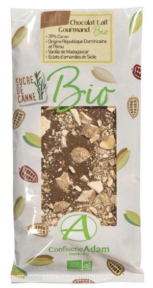tablette de chocolat au lait noisettes bio confiserie adam