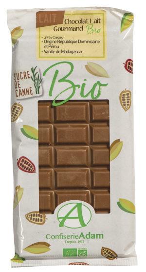 tablette de chocolat au lait bio confiserie adam