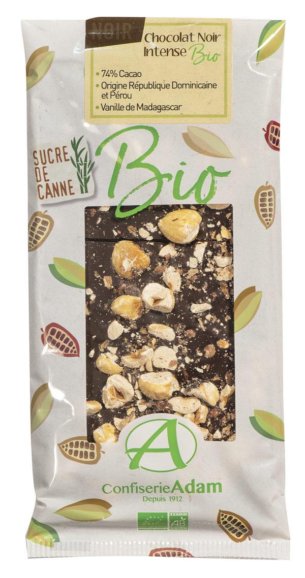 tablette de chocolat noir noisettes bio confiserie adam