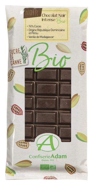 tablette de chocolat noir bio confiserie adam
