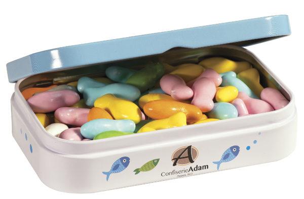 boîte cadeau bonbons sardines au chocolat au lait ouverte