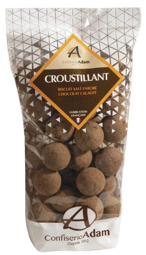sachet de biscuits salés croustillants chocolat cacaoté confiserie adam