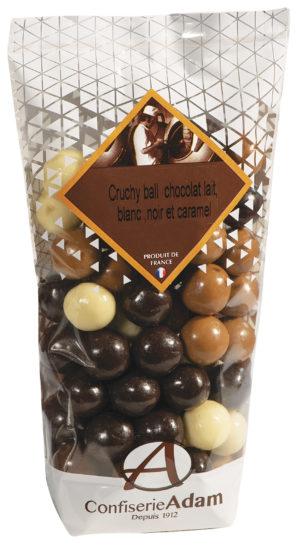 sachet mélange de cruchy ball 3 chocolats et caramel confiserie adam