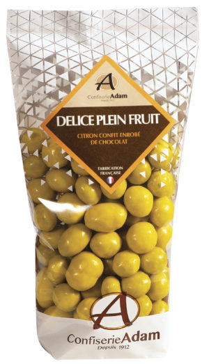 sachet de perles de fruit citron et chocolat confiserie adam