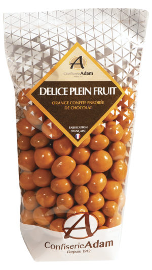 sachet de perles de fruit orange et chocolat confiserie adam
