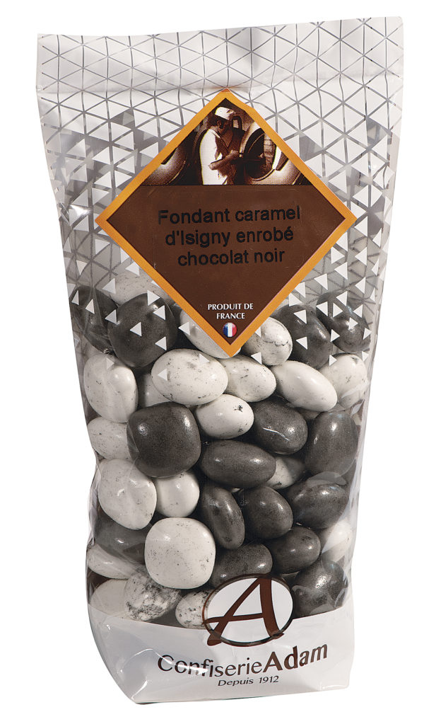 sachet bonbons caramel d'Isigny et chocolat noir confiserie adam