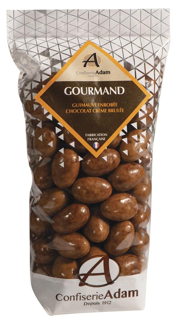 sachet de guimauves enrobées de chocolat crème brulée confiserie adam