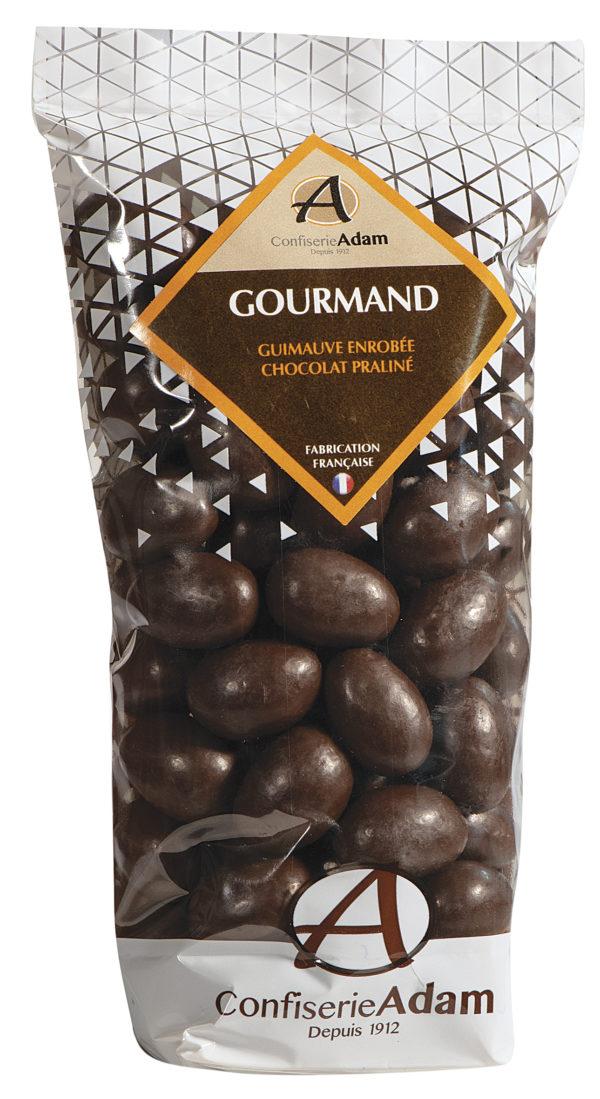 sachet de guimauves enrobées de chocolat praliné confiserie adam