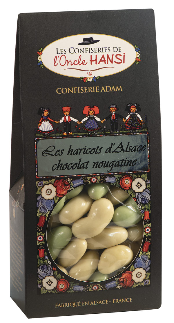 sachet bonbons haricots d'Alsace chocolat et nougatine l'oncle Hansi