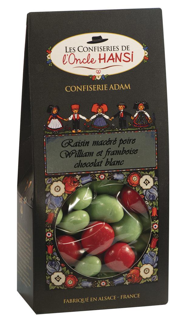 sachet raisins macérés poire William et framboise chocolat blanc l'oncle Hansi