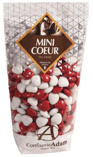 sachet dragées chocolat minis coeurs 73% cacao confiserie adam