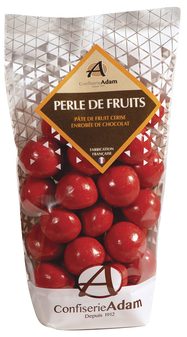 sachet de perles de fruit cerise et chocolat confiserie adam