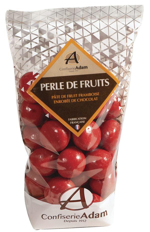 sachet de perles de fruit framboise et chocolat confiserie adam