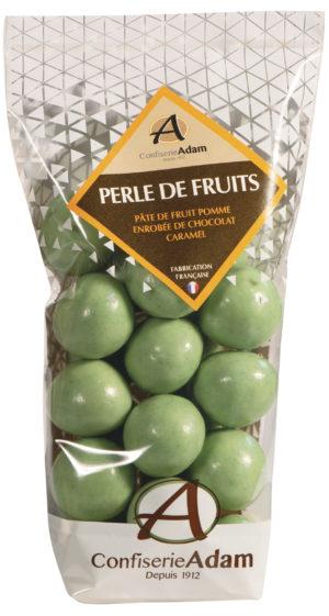 sachet de perles de fruit pomme et chocolat caramel confiserie adam