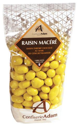 sachet de raisins macérés chocolat au Marc Gewurztraminer confiserie adam