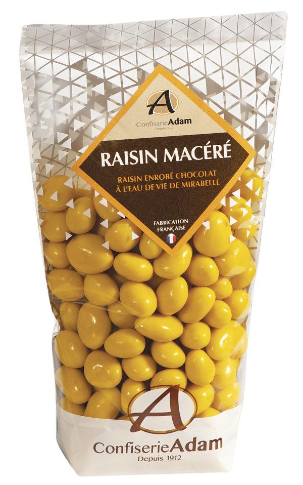 sachet de raisins macérés chocolat à l'eau de vie de mirabelle confiserie adam